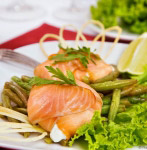 Salmon sacs with sharp curd mass